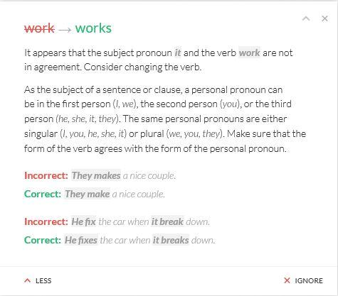 does grammarly work - business english success - screenshot